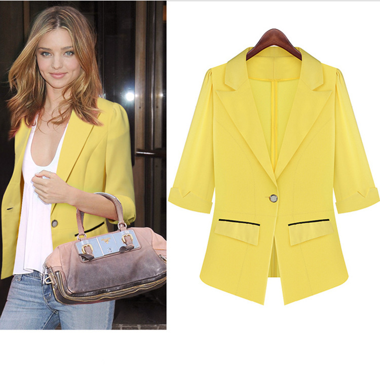 2015 Spring Yellow Blazer Women 3/4 Sleeve Notched Pocket Suits ...