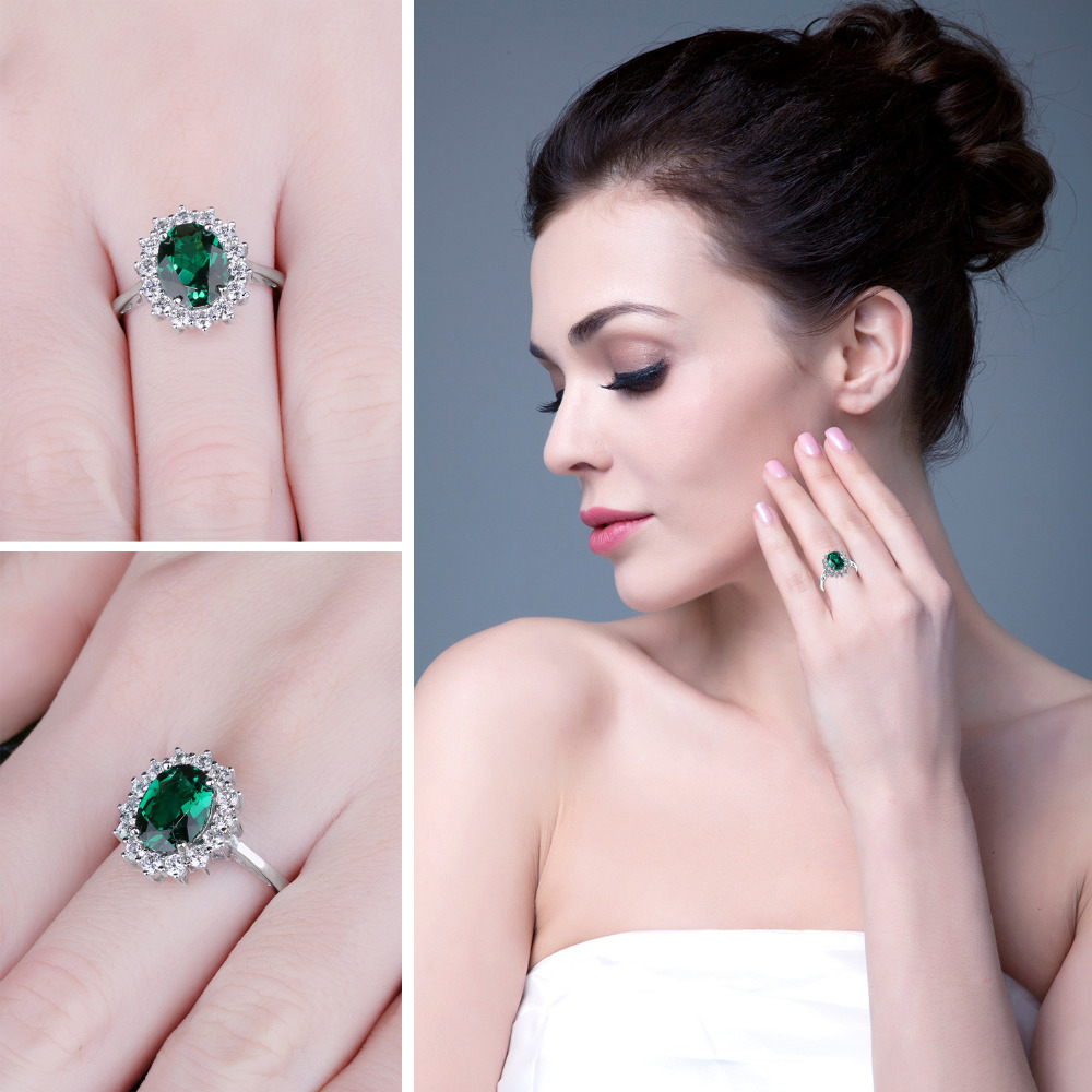 Image 3 - JewPalace Princess Diana Simulated Emerald Ring 925 Sterling Silver Rings for Women Engagement Ring Silver 925 Gemstones Jewelry-in Rings from Jewelry & Accessories