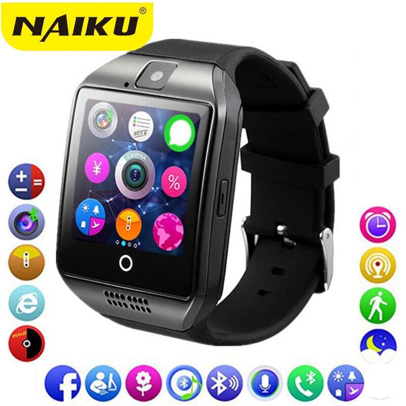 Bluetooth Montre Smart Watch Hommes Q18 Avec Tactile Grand Écran Batterie Soutien TF Carte Sim Caméra pour HUAWEI Android Téléphone Smartwatch
