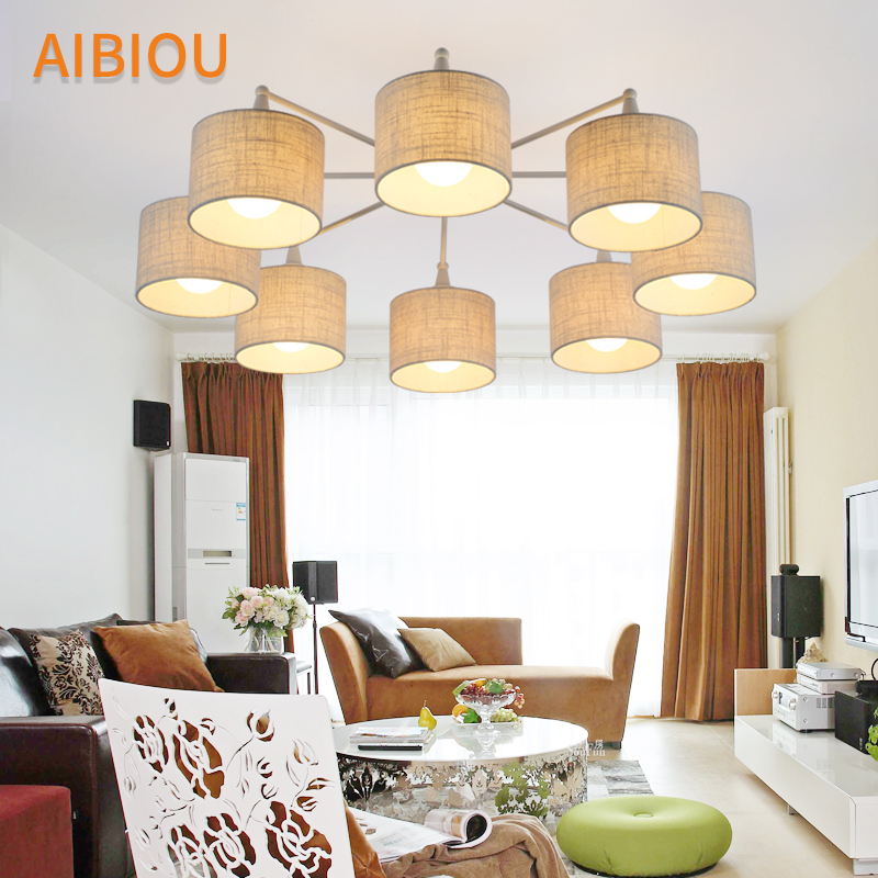 AIBIOU LED Chandelier With Cloth Lampshades For Living Room Elegant Ceiling Mounted E27 Chandeliers Fabric Kitchen Lightings