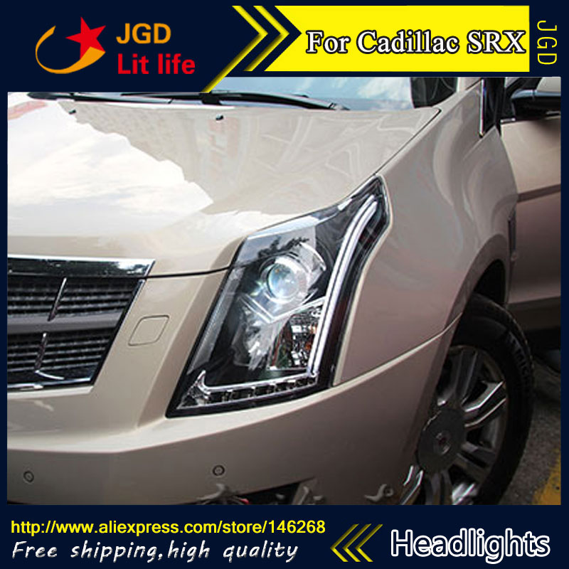 Free shipping ! Car styling LED HID Rio LED headlights Head Lamp case for Cadillac SRX 2010-2016 Bi-Xenon Lens low beam