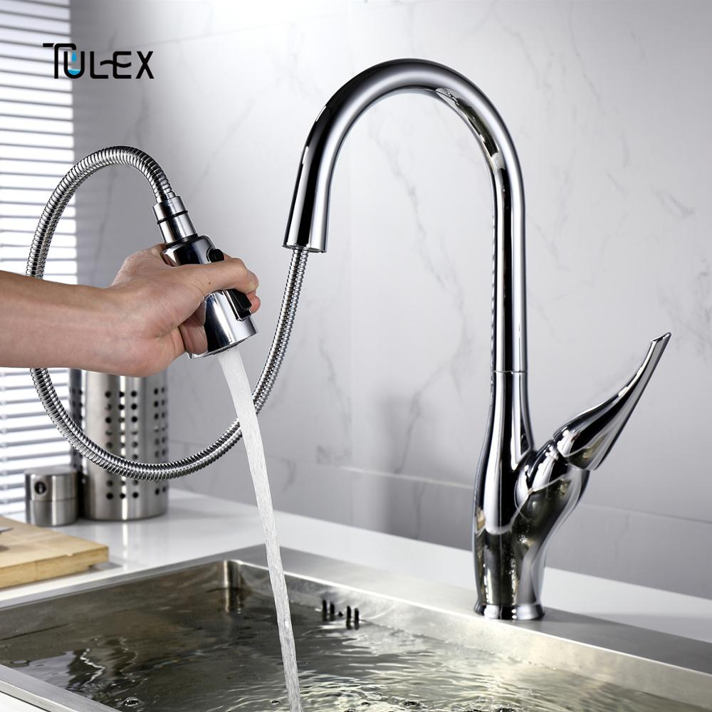 TULEX Quality Kitchen Faucet 1 Set Sink Mixer Polished Chrome Crane Single Handle Pull Down Swivel Spout Tap Hot And Cold Water donyummyjo modern new chrome kitchen faucet pull out single handle swivel spout vessel sink mixer tap hot and cold water