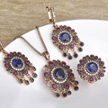 Sculpture Flowers Turkish Jewelry Sets Necklace & Earrings & Ring Simulated Resin Full Crystals Antique Gold Plated Women's Love