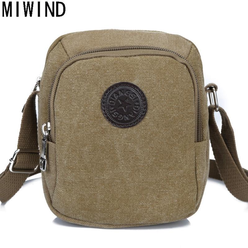 MIWIND New Arrive Men Canvas Bag Vintage Messenger Bag Brand Business Casual Travel Shoulder Bag Men Small Crossbody Bag THQ1093