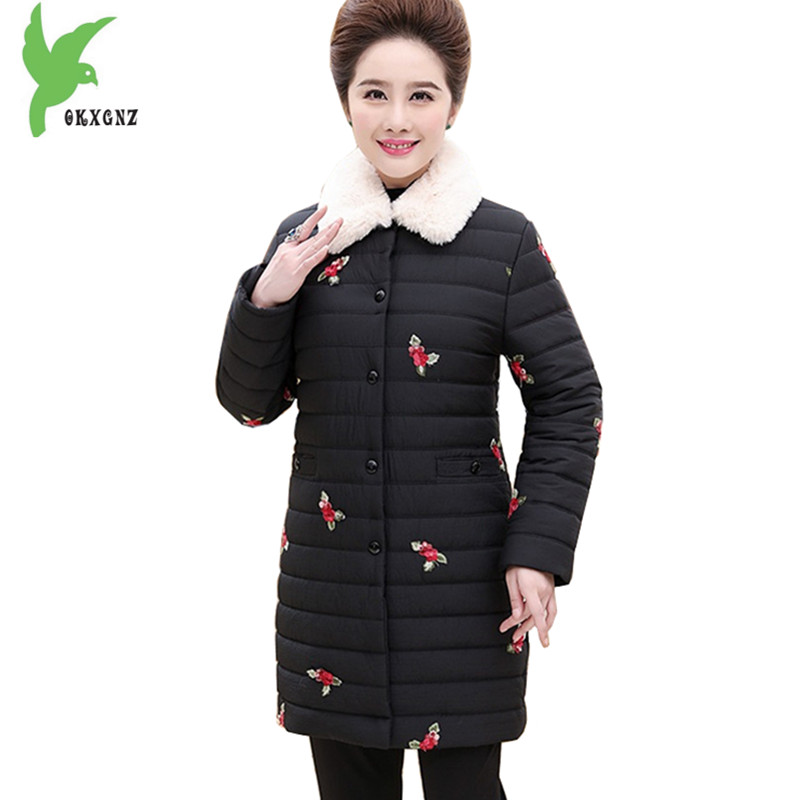 Middle-aged Women Winter Coat down Cotton Jackets Embroidery Fur collar Parkas Plus size Female Thick Warm Cotton Jackets OKXGNZ winter women medium long middle aged fur collar hooded parkas thick warm plus size coat cotton padded chaquetas mujer tt3058