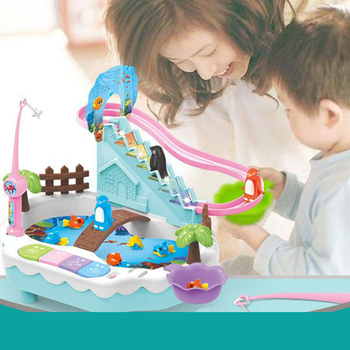 Cartoon Fishing toys Track slide fishing platform Parent-child interactive game 2 in 1 Gifts for child Puzzle toy