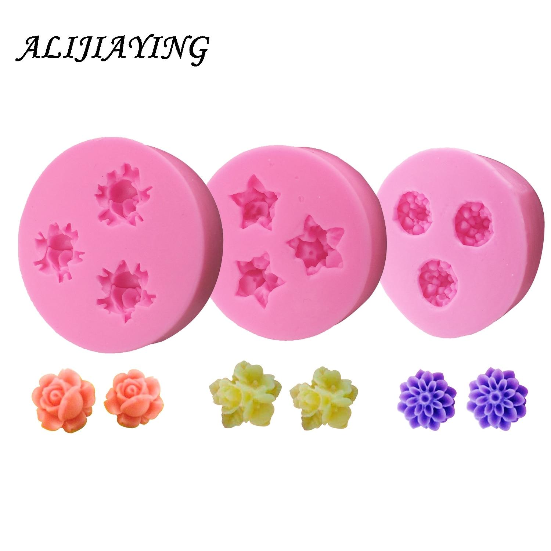 DIY Mini Roses Flower Soft Silicone Mold Fondant Sugarcraft chrysanthemum Cake Decorating Tools  D0212