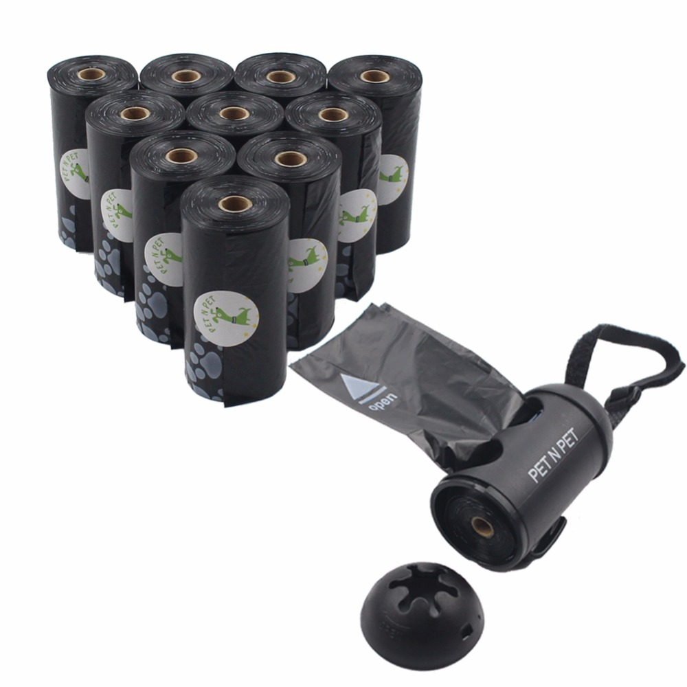 Dog Poop Bags Earth-friendly 180 Counts 10 Rolls Large Unscented  Doggie Waste Bags Black With 1 Dispenser
