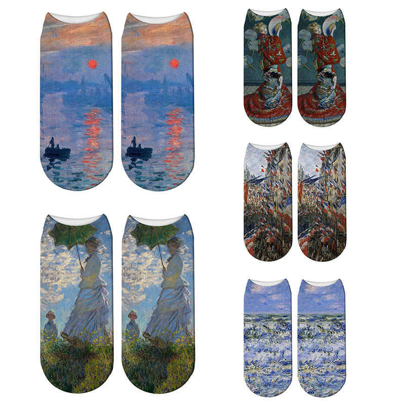 3D Printed Fashion Vintage Retro Painting Claude Monet Art Socks Novelty Woman Parasol Impression Sunrise Oil Painting Socks