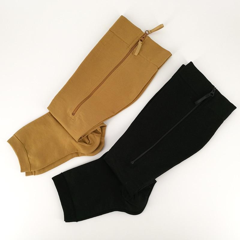 Image 4 - YISHENG Medical Compression Socks Zipper Open Toe 20 30mmHg Toeless Nurse Zip Socks with Zipper Easy on Off-in Stockings from Underwear & Sleepwears