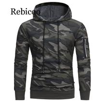 Mens Causal Hoodies Sweatshirts Autumn Winter Male Long Sleeve Camouflage Hooded Sweatshirt Tops
