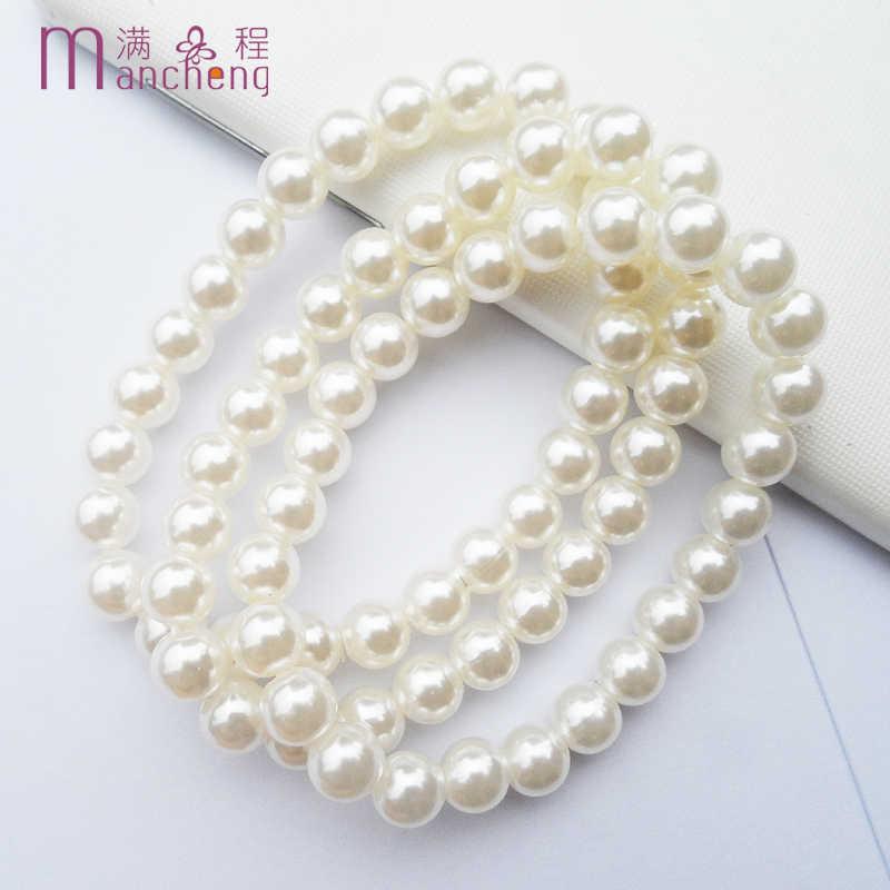 3 cái/bộ cổ điển 8 MM trắng hạt Giả ngọc trai vòng đeo tay & bangle đồ trang sức, dây chain strand 8 MM ngọc trai vòng đeo tay cho phụ nữ 2019