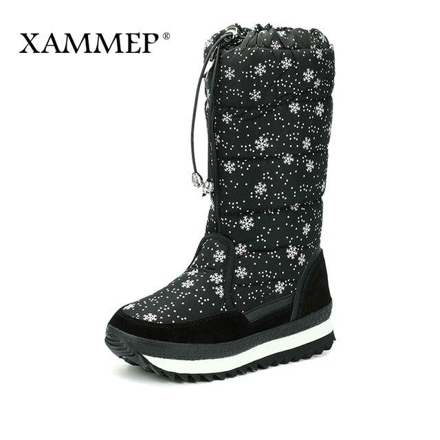 Женская зимняя обувь; высокие сапоги до колена; Брендовая женская обувь высокого качества; женские зимние сапоги из плюша и шерсти; большие размеры