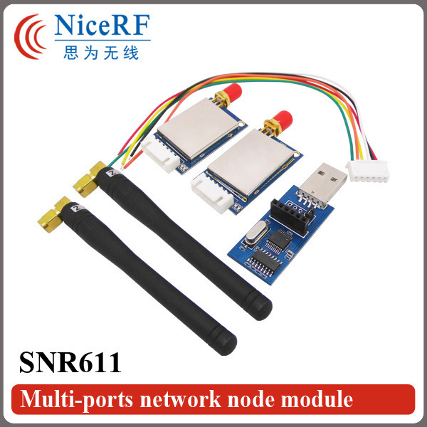 2sets SNR611 433/470/868/915MHz RF Wireless Module Transceiver Kit ( 2pcs SNR611+ 2pcs Antenna+1pc USB Bridge Board)