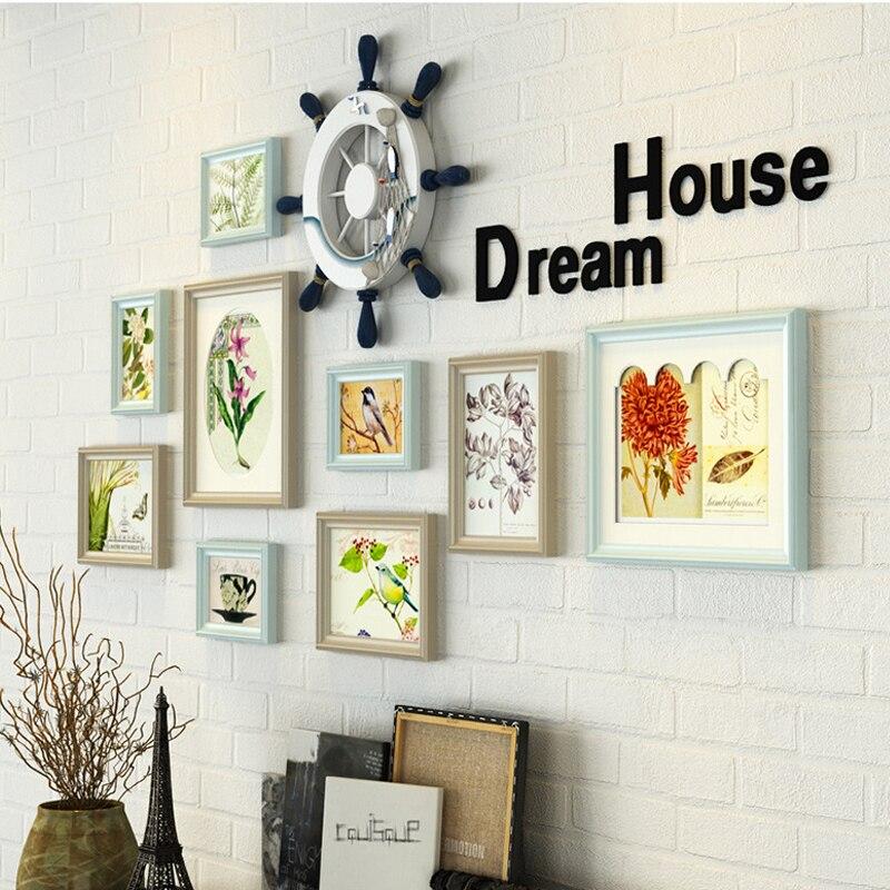 11 teile/los bilderrahmen wand dekoration Europäischen massivholz Mittelmeer fotowand wohnzimmer kreative kombination - 2