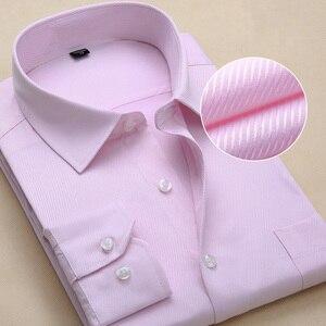 Image 3 - Chemise à manches longues pour hommes, blanche et formelle, cintrée, rayures solides, grande taille