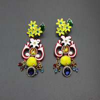 2017 Europe and Baroque flower earrings round pulley inlaid precious stones earrings long exaggerated water earrings 264