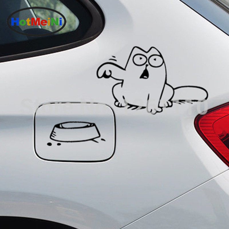 HotMeiNi Hungry Simon's Cat Bowl JDM Decal Funny Gas Fuel Tank Cap Cover Vinyl Car Sticker for Car Truck SUV Window Bumper шторы реалтекс классические шторы alexandria цвет венге молочный венге