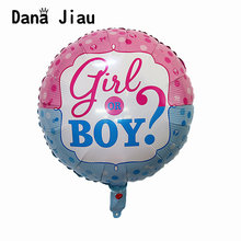 girl or boy baby shower foil balloons small babies birthday party decoration ball princess crown pink animal it's a boy toy(China)