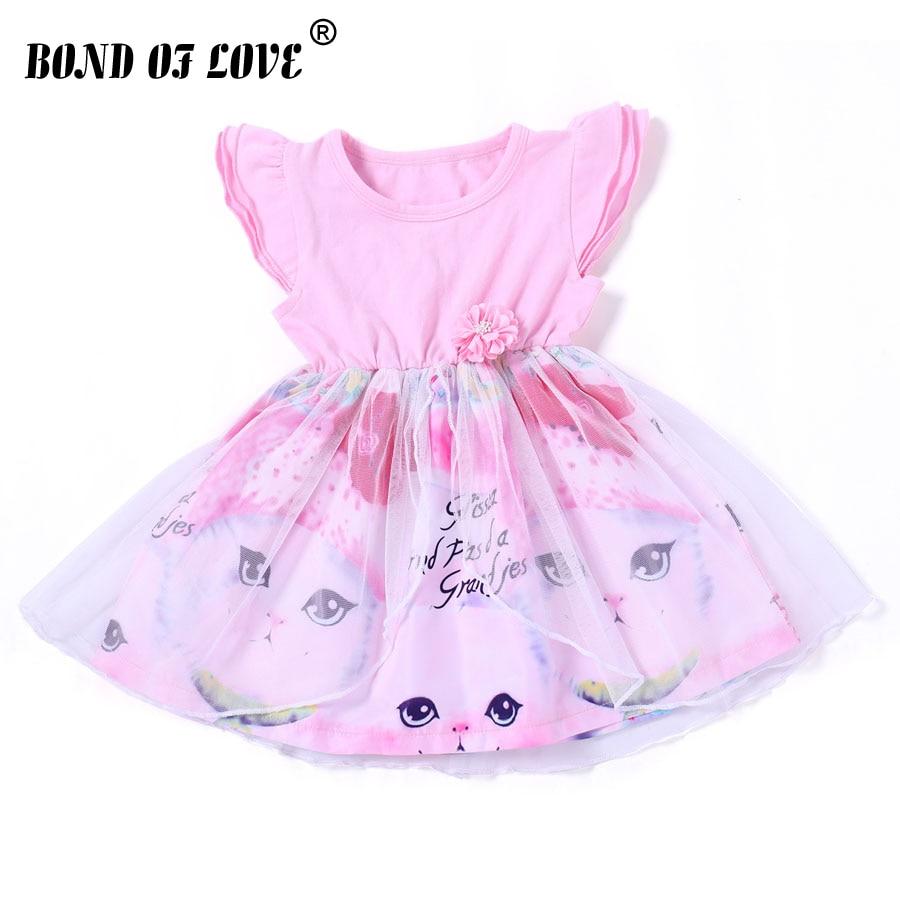 2018 Summer Kids Clothes Baby Girl Dresses Sleeveless Chiffon Cat Girl Dress Princess Pageant Party Tulle Knee-Length Dress girl dress baby girl princess chiffon