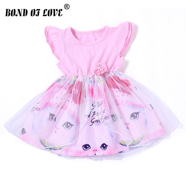 3565e08914d 2019 Summer Kids Clothes Baby Girl Dresses Sleeveless Chiffon Cat Girl Dress  Princess Pageant Party Tulle Knee-Length Dress