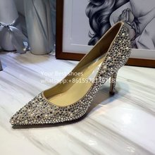 2016 fall Embellished Suede Pumps beige pearl Crystal-Embellished Suede Pumps Point toe crystal heels 9cm wedding shoes