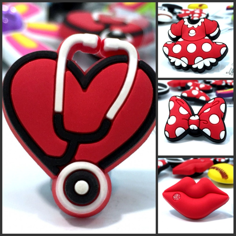 1pcs High Quality Red Lips Bowknots Shoe Models PVC Shoe Charms Accessories/decoration Fit Wristbands Croc JIBZ