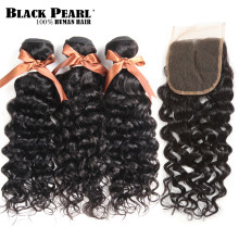 Black Pearl Brazilian Hair Weave Bundles With Closure Remy Human Hair 3 Bundles With Closure Water Wave Bundles With Closure(China)