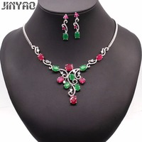 JINYAO Luxury Bridal Jewelry Gold Color Red Green Zircon Necklace Earrings Sets for Women Wedding Jewelry 3colors