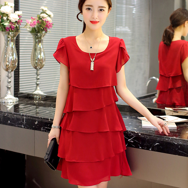 8f0c0728bc 2019 New Women Plus Size 5XL Summer Dress Loose Chiffon Cascading Ruffle  Red Dresses Causal Ladies Elegant Party Cocktail Short