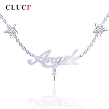 CLUCI Silver 925 Fashion Angel Zircon Pearl Pendant Necklace for Women Party Jewelry Angel Letter Pendant Necklace Jewelry(China)
