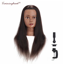 "Traininghead 20-22 ""Mannequin Head 100% Emberi Haj Fodrász Frizurák Training Head Manikin Kozmetika Doll Head with Clamp"