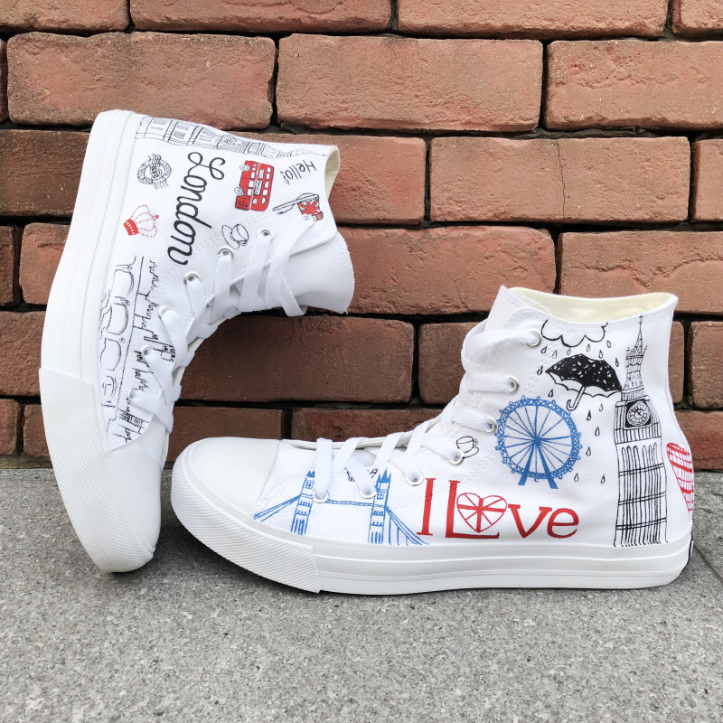 21f4b498f5 Wen Canvas Shoes Original Custom London Landmarks Design Hand Painted Shoes  White Men Women's Skateboard Shoes High Top Flats