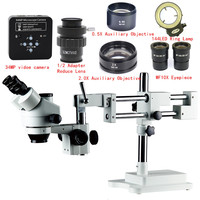 3.5X 7X 45X 90X Double Boom Stand Zoom Simul Focal Trinocular Stereo Microscope 34MP Camera Microscope For Industrial PCB Repair