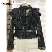 QoerliN Korean Style Sweet Lace Blouse Female Elegant Slim Contexture Hollow Shirt 2018 Spring Summer New Shirt Women Plus Size
