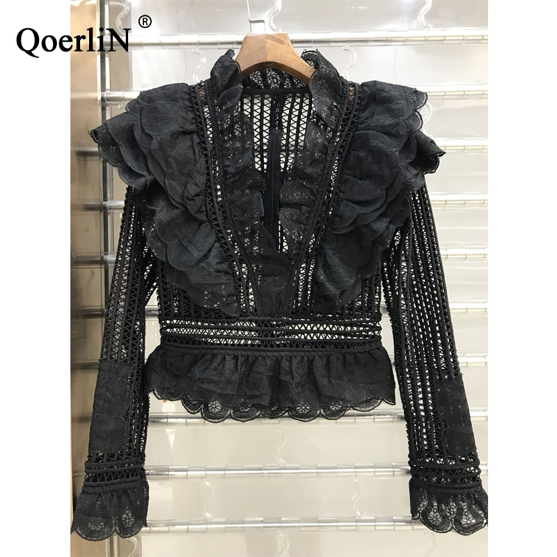 QoerliN Korean Style Sweet Lace   Blouse   Female Elegant Slim Contexture Hollow   Shirt   2018 Spring Summer New   Shirt   Women Plus Size