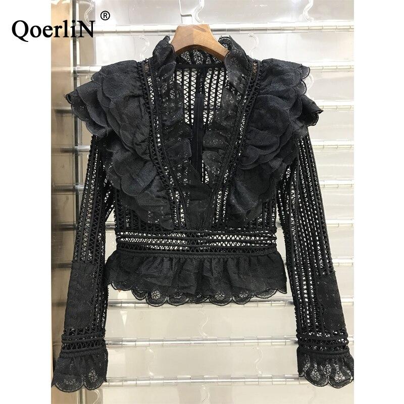 QoerliN корейский стиль Милая женская кружевная блузка элегантная тонкая распашная рубашка 2018 весна лето новая рубашка Женская Плюс Размер