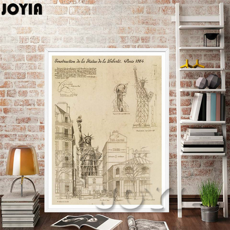 Building drawings wall art eiffel tower statue of liberty art building drawings wall art eiffel tower statue of liberty art canvas prints ancient blueprint room wall decor painting framed no in painting calligraphy malvernweather Gallery