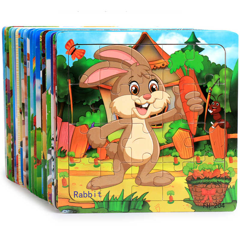 Puzzles For Kids 20 Pieces Cartoon Animals Jigsaw Puzzles Baby Learning Toys Wood Children Toys Educational Games Wooden Puzzles