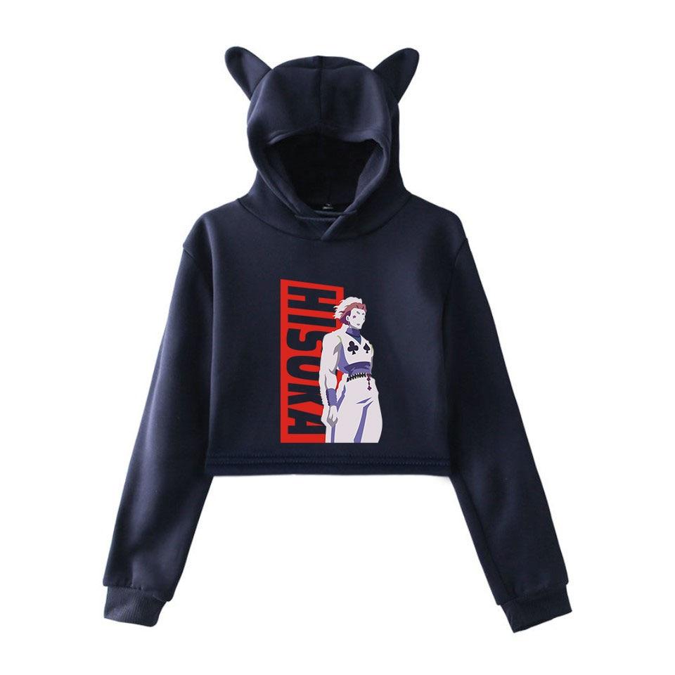 2D Hisoka Women Casual Popular Long Sleeve Sweatshirt Navel Hoodies Sweatshirts 2019 Cat Ear Hooded