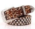 Luxo couro strass leopardo cinto de Designer de mulheres acessórios de cristal