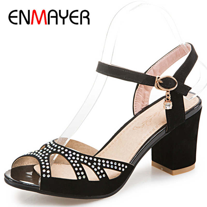 ENMAYER Summer Women Casual Fashion Sandals Pumps Shoes Rhinestone Peep Toe Buckle Strap Square Heel Large Size 34-47 Black Blue xiaying smile summer new woman sandals platform women pumps buckle strap high square heel fashion casual flock lady women shoes