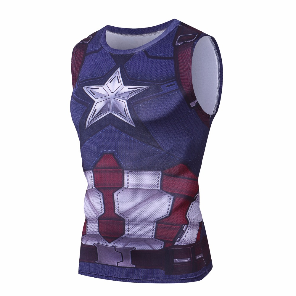 Thanos Sleeveless Avengers 3D Printed T shirts Men Compression Shirts Tops Male Cosplay