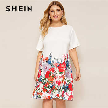 SHEIN Plus Size White Floral Print Tee Dress 2019 Women Summer Casual Shift Round Neck Short Sleeve Straight Officewear Dresses - DISCOUNT ITEM  45% OFF All Category