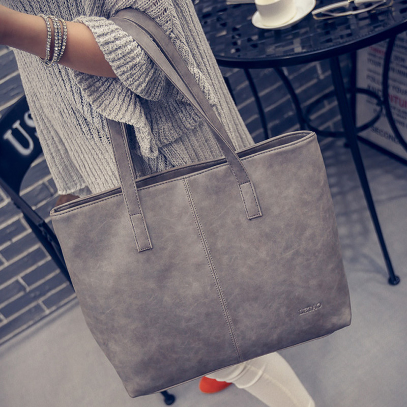 LUOQI Large Tote Women Bags High Quality PU Leather Casual Shoulder Bag British