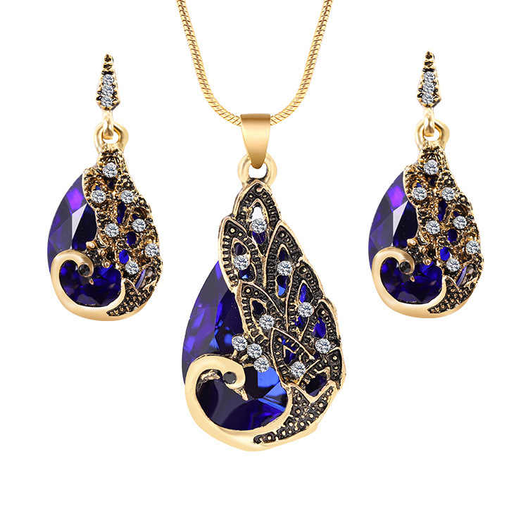Trendy Peacock Hollow Jewelry For Women Fashion Jewelry Full Rhinestone Opal Pendant Necklace Earrings Set Party Gifts