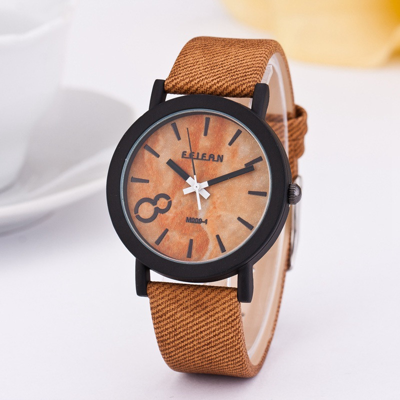 2018 new product recommended imitation wooden quartz female leisure Color Leather Strap Watch 4