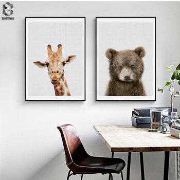 Żyrafa obraz na płótnie przedszkole Wall Art niedźwiedź plakat i druku Nordic piękny zwierząt dla dzieci dla dzieci chłopcy Room Home wystrój