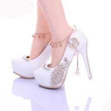2016 Popular White Pearl Diamond Bridal Shoes Rhinestone Wedding Shoes for Women Lady's High Heeled Crystal Prom Shoes Pumps