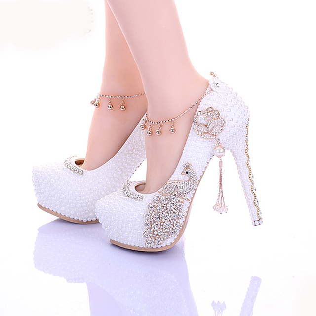 2018 Popular White Pearl Diamond Bridal Shoes Rhinestone Wedding Shoes for Women Lady's High Heeled Crystal Prom Shoes Pumps